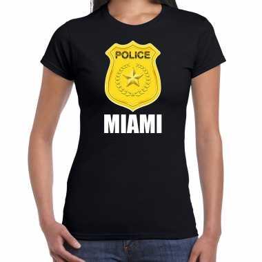 Carnavalskleding police / politie embleem miami verkleed t shirt zwart dames goedkoop
