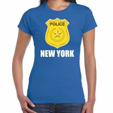 Carnavalskleding police / politie embleem new york verkleed t shirt blauw dames goedkoop