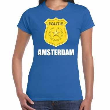 Carnavalskleding politie embleem amsterdam carnaval verkleed t shirt blauw dames goedkoop