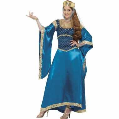 Carnavalskleding prinsessen jurk blauw dames goedkoop