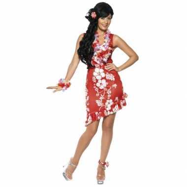 Carnavalskleding rode hawaii jurken accessoires dames goedkoop