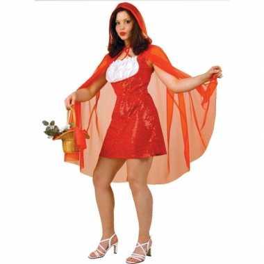 Carnavalskleding roodkapje verkleed jurkje cape dames goedkoop