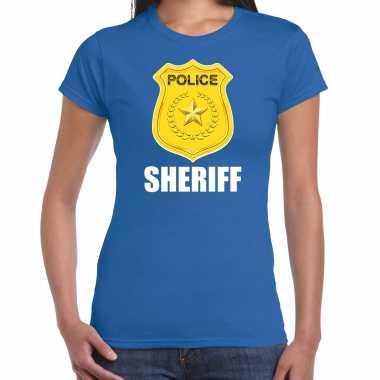 Carnavalskleding sheriff police / politie embleem t shirt blauw dames goedkoop