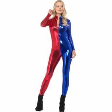 Carnavalskleding superheld catsuit rood/blauw metallic dames goedkoop