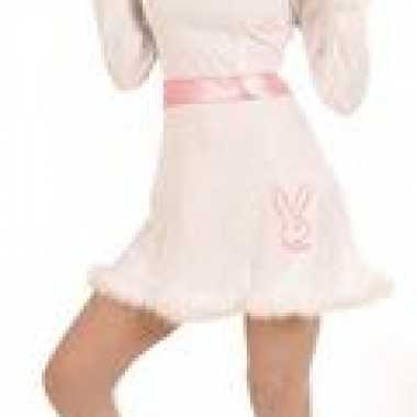 Carnavalskleding  Wit roze jurk bunny dames goedkoop