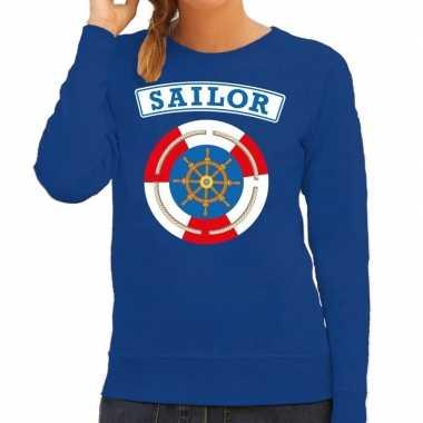 Carnavalskleding zeeman/sailor verkleed sweater blauw dames goedkoop