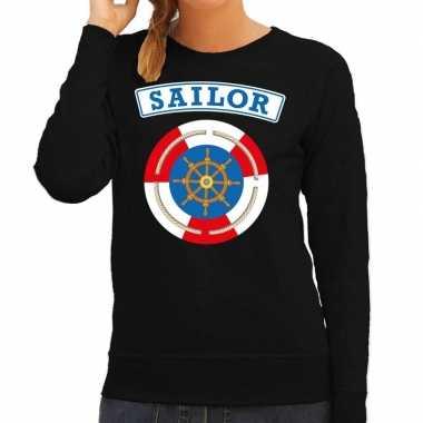 Carnavalskleding zeeman/sailor verkleed sweater zwart dames goedkoop