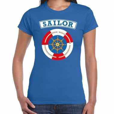 Carnavalskleding zeeman/sailor verkleed t shirt blauw dames goedkoop