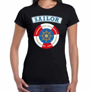 Carnavalskleding zeeman/sailor verkleed t shirt zwart dames goedkoop