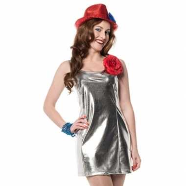 Carnavalskleding zilveren dames jurkjes disco stijl goedkoop
