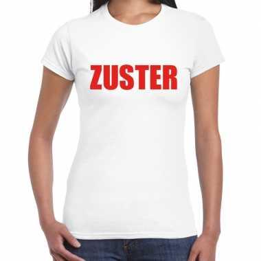 Carnavalskleding zuster verkleed t shirt wit dames goedkoop