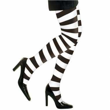 Carnavalskleding zwart witte dames panty strepen