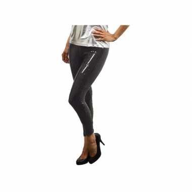 Carnavalskleding zwarte leggings pailletten dames goedkoop