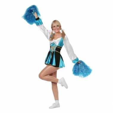 Cheerleader carnavalskledingje aqua vrouwen dames goedkoop
