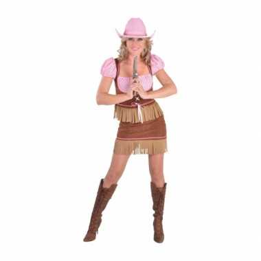 Cowgirl carnavalskleding bruin roze dames goedkoop