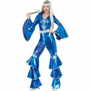 Dames disco carnavalskleding blauw goedkoop