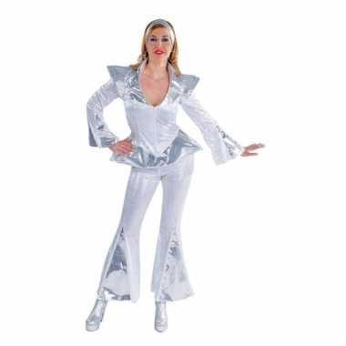 Disco carnavalskleding dames wit/zilver goedkoop