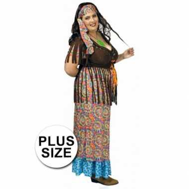 Gekleurd hippie grote maat dames carnavalskleding goedkoop