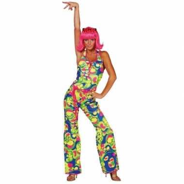 Gekleurde dames seventies carnavalskleding goedkoop