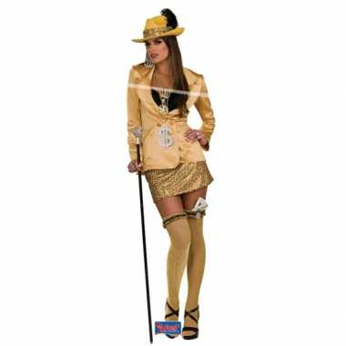 Gouden madam carnavalskledingje vrouwen dames goedkoop
