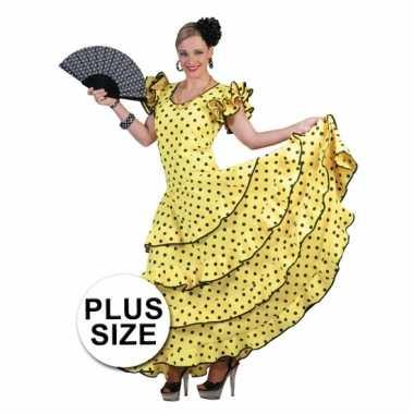 Grote maat carnavalskleding gele flamencojurk dames goedkoop