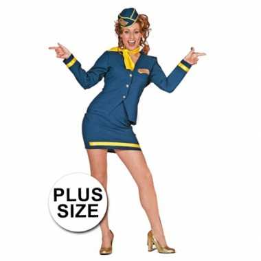 Grote maten carnavalskleding stewardess dames goedkoop