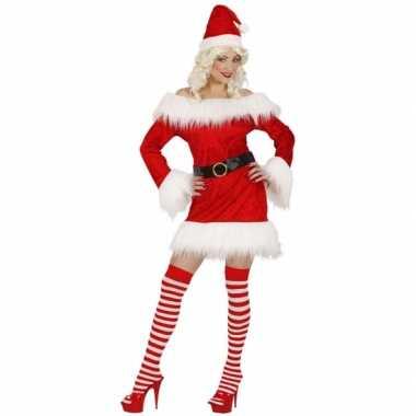 Kerstcarnavalskledingje dames rood fluweel goedkoop