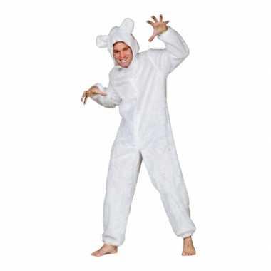 Pluche beren carnavalskleding wit volwassen dames goedkoop