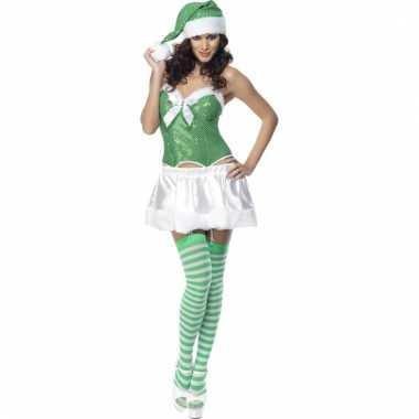 Sexy dames carnavalskleding groen wit goedkoop