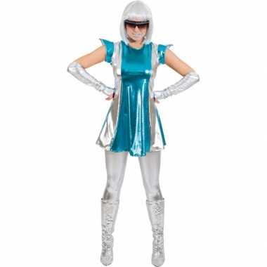 Space verkleed carnavalskledingje blauw/zilver dames goedkoop