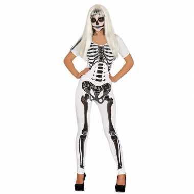 Witte skelet verkleed carnavalskledingje dames