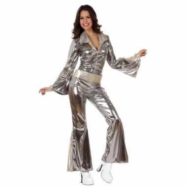 Zilveren dames disco carnavalskledings goedkoop