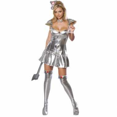Zilveren tinnen carnavalskleding vrouw dames goedkoop