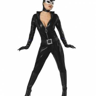 Zwart catwoman carnavalskleding compleet dames goedkoop