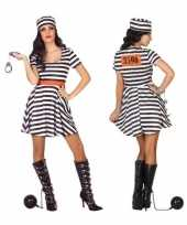Carnaval feest boeven gevangenen bonnie verkleedcarnavalskleding jurkje dames