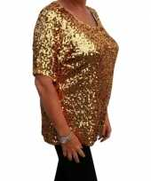 Carnavalskleding grote maten gouden glitter pailletten disco shirt dames xl