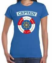 Carnavalskleding kapitein captain verkleed t-shirt blauw dames