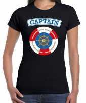 Carnavalskleding kapitein captain verkleed t-shirt zwart dames