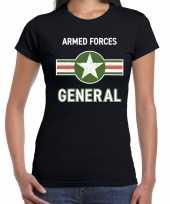 Carnavalskleding landmacht armed forces verkleed t-shirt zwart dames