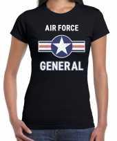 Carnavalskleding luchtmacht air force verkleed t-shirt zwart dames