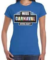 Carnavalskleding miss carnaval verkleed t-shirt blauw dames