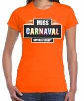 Carnavalskleding miss carnaval verkleed t-shirt oranje dames