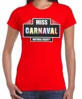 Carnavalskleding miss carnaval verkleed t-shirt rood dames