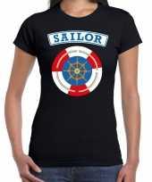 Carnavalskleding zeeman sailor verkleed t-shirt zwart dames