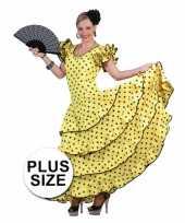Grote maat carnavalskleding gele flamencojurk dames