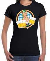 Oktoberfest bierfeest drank fun t shirt carnavalskleding zwart beierse kleuren dames